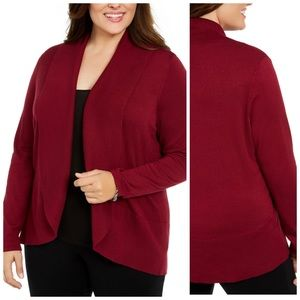 Wine Colored Open Front Cardigan Plus Size 3X